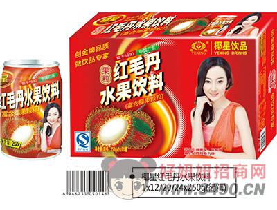 椰星红毛丹水果饮料简箱250g