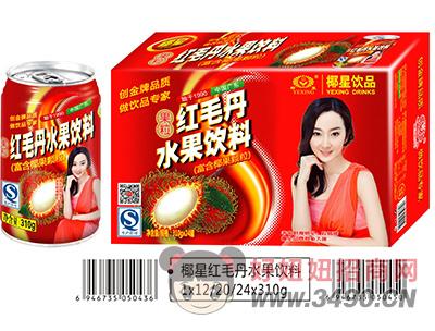 椰星红毛丹水果饮料简箱310g
