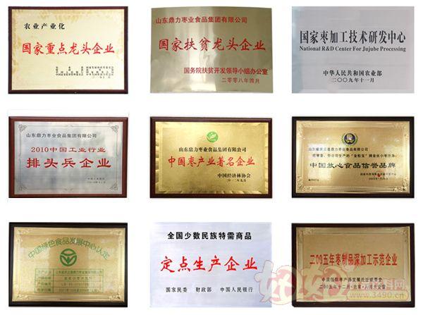 山东鼎力枣业食品集团有限公司荣誉展示