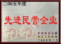 """八公山豆制品""""2005年度先进民营企业"""""""