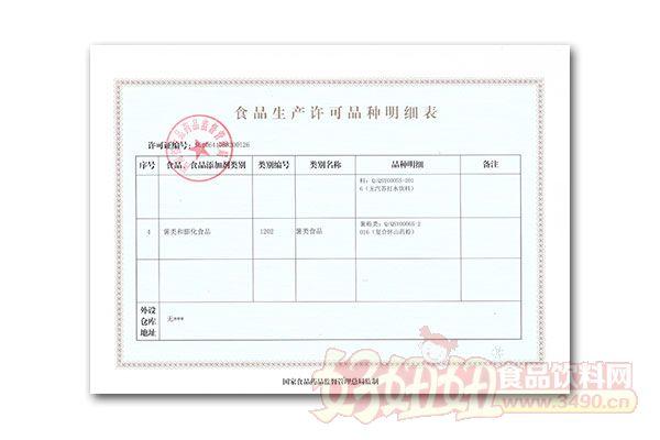 沁阳市森宇食品有限公司生产明细表