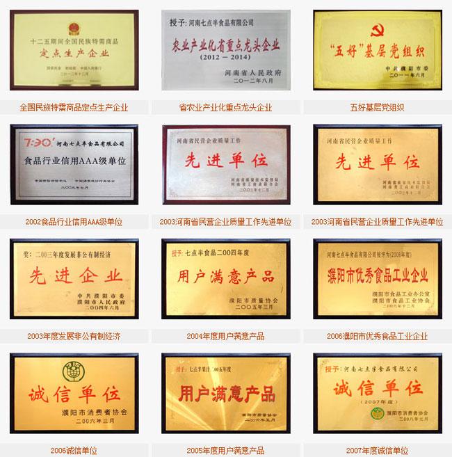 河南七点半食品有限公司荣誉证书