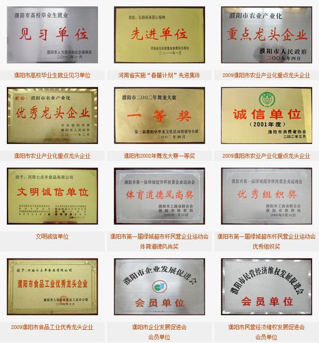 河南七点半食品有限公司企业荣誉