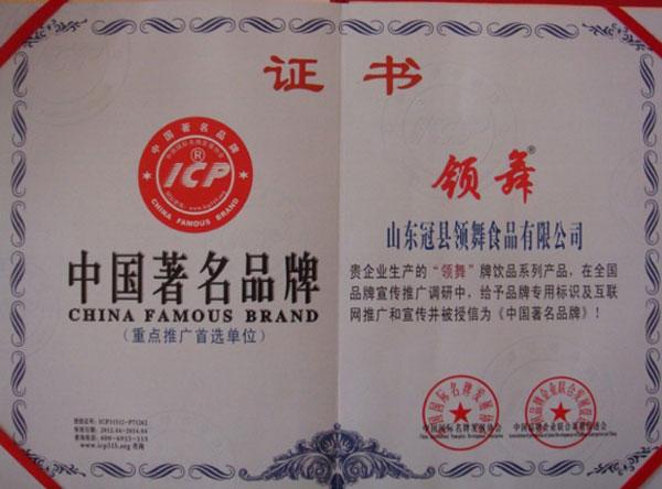 山东领舞食品有限公司荣誉证书