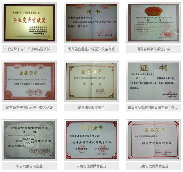 科迪食品集团荣誉证书