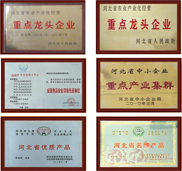 河北天天乳业集团有限公司荣誉证书