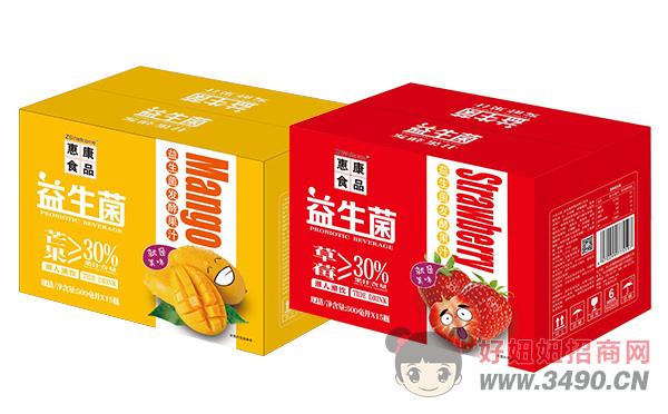 惠康益生菌发酵芒果汁、草莓汁500ml×15瓶