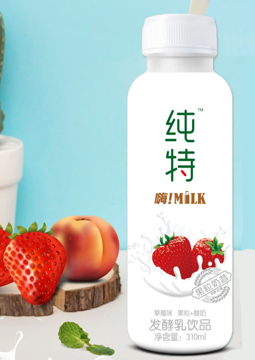 纯特果粒奶昔草莓+椰果发酵乳饮品310ml