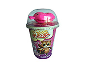 乐彩猫杯造型饼干牛奶味+多款玩具40g(红)