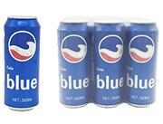 蓝色可乐易拉罐装500ml