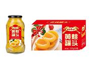 岫玉山黄桃水果罐头500g×6罐