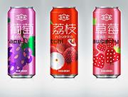 草莓、荔枝、葡萄果汁饮料罐装