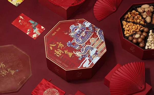 百草味联合颐和园推出宫廷年货坚果礼盒