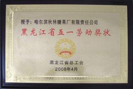 秋林格瓦斯食品-黑龙江省五一劳动奖状