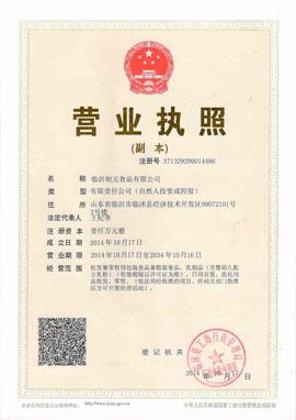 临沂初元食品有限公司营业执照(副本)