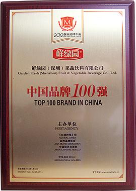 鲜绿园(深圳)果蔬饮料有限公司中国品牌100强证书