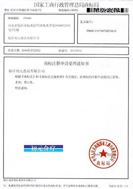 临沂初元食品有限公司初元食疗商标注册申请书
