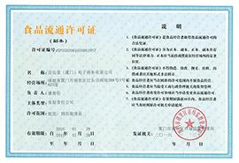 舌尖爱(厦门)电子商务有限公司食品流通许可证