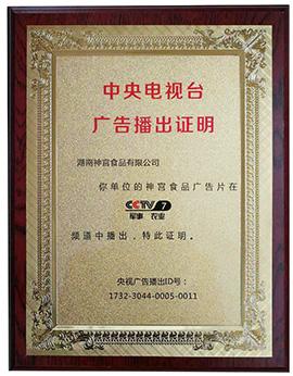 湖南神宫食品中央电视台广告播出证明