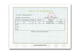 生产许可明细证