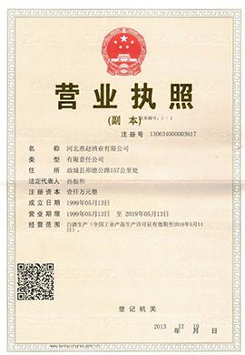 山东省雪仔酒业有限公司营业执照副本