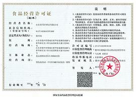 山东省雪仔酒业有限公司食品经营许可证(副本)
