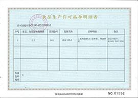 山西惠隆食品有限公司食品生产许可品种